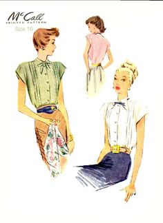 40s VINTAGE BLOUSE Sewing Pattern - 1947 McCalls 6819, Size 16 - Capped Sleeve, Tucks and Two Neckline Styles - Uncut by KeepsakesStudio on Etsy