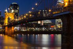 Roebling Bridge - John A. Roebling bridge into Cincinnati, Ohio