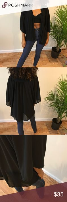 Urban outfitters black kimono Urban outfitters black kimono very cute and stylish . Has the ability to be dressed up and dressed down . Basically new never worn before . Urban Outfitters Other
