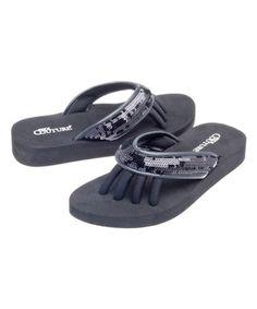 d0e6e61c1a0c9a Loving this Black Glam Flip-Flop on  zulily!  zulilyfinds I ll