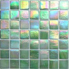 Grammy Award Green from Kaleidoscope Brand Glass Mosaic Tile- ColorGlitz 20mm vibrant iridescent light green & white swirled glass mosaic tile