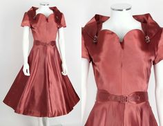 VTG 50s EISENBERG ORIGINALS ROSE SATIN COCKTAIL PARTY DRESS RHINESTONE DETAIL S…
