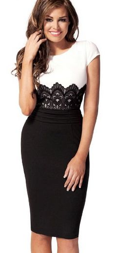 Miusol Scoop Neck Contrast-waist with Embroidered Lace Bodycon Dress #fashion #style #outfit
