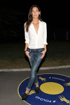 Lily Aldridge was casual yet oh-so-stylish in her jeans and button-down combo.