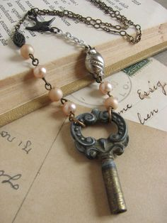 Pastel Vintage Key Necklace whimsical assemblage by whybecause
