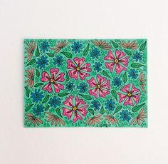 Flower Design ACEO Original Flower Meadow Artist Trading