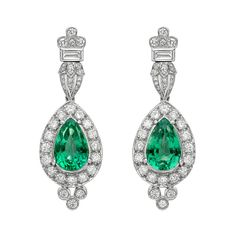 Emerald Diamond Pendant Earrings   From a unique collection of vintage drop earrings at https://www.1stdibs.com/jewelry/earrings/drop-earrings/