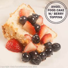 Light as a Cloud #AngelFood #Cake with Berry Topping. Finally a truly airy #glutenFree angel food cake! For the #recipe, visit OnlyTasteMatters.com