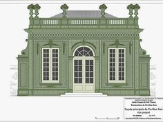 Versailles, Le Pavillon Frais, Jardin Francais de Le Petit Trianon, elevation restoration drawing
