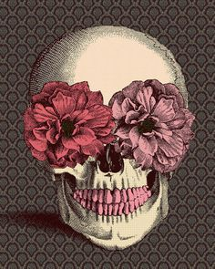 Flowers & skull. Cool art.