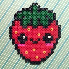 Kawaii strawberry hama beads by alva_novo