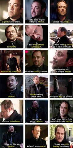 """(gif set) Crowley's Nicknames for Sam [My favorite may be """"You're my Marnie, Moose."""" ;A; ]"""
