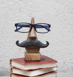 Witty Hand Carved Wooden Eyeglass Holder