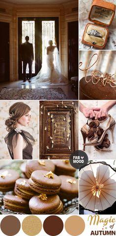 Brown & Gold Autumn Wedding Colour Palette, Autumn/fall brown gold wedding board inspiration | fabmood.com