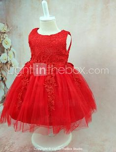 Ball Gown Knee-length Flower Girl Dress - Organza Sleeveless Jewel with Lace 2017 - $29.99