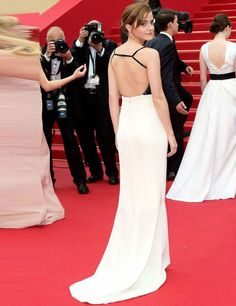 Emma Watson in a backless Chanel gown for the premier of her latest film The Bling Ring at the Cannes Film Festival, May 2013