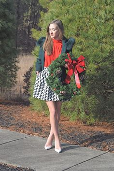 Santa Baby... Houndstooth skater skirt with red top