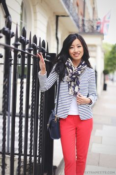 Outfit of all basic but super versatile pieces - red pants, striped blazer, floral scarf & navy cross-body bag
