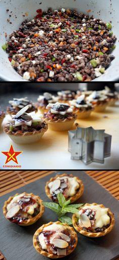 Tartaletas de morcilla y queso de Burgos http://comidiario.wordpress.com/2014/02/20/tartaletas-de-morcilla-y-queso-de-burgos/