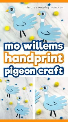 Easy Kids Craft Idea This Handprint Pigeon Craft Inspired By Author Mo Willems' Books Is A Cheap And Fun Homemade Craft Kids Will Love Making. It's Perfect For Toddlers, Preschoolers And Kindergarten Aged Children. Animal Crafts For Kids, Easy Crafts For Kids, Summer Crafts, Toddler Crafts, Preschool Crafts, Diy For Kids, Craft Kids, Fun Crafts, Craft Box