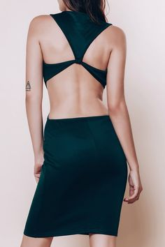 Alluring Scoop Neck Sleeveless Solid Color Cut Out Dress For Women