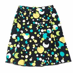 Cato Women Skirt Sz Large Multi-Color Black A-Line Stretch Knee Length Polka Dot #Cato #ALine #Casual