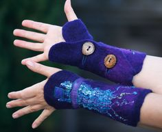 Nuno felted wool cuffs of contrasting color and various textures. Blue, purple, violet, combined with textured silk/viscose fabric of different by FeuerUndWasser on Etsy