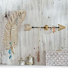 Metallic Momentos Jewelry Holders - Gold Feather, Arrow #pbteen