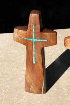 Walnut Standing Cross with Turquoise Inlay 5  by BlackFacedSheep, $19.99