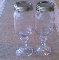 "These would be excellent for a sand ceremony or wine ceremony.    Wedding Mason Jar Glasses - ""Redneck Wine Glasses"". $7.95, via Etsy."