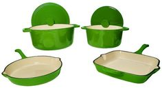 $199.99 | FancyCook Green 6-piece Enamel Cast Iron Cookware Set. (CLICK IMAGE TWICE FOR UPDATED PRICING AND INFO) See More Enamel Cast Iron Cookware Sets at www.momsbestkitchen.com/product-category/cast-iron-cookware-sets/