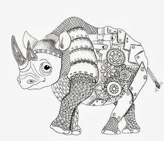 Efie goes Zentangle: Ben Kwoks Rhino   *   Coloring pages colouring adult detailed advanced printable Kleuren voor volwassenen coloriage pour adulte anti-stress kleurplaat voor volwassenen Line Art Black and White