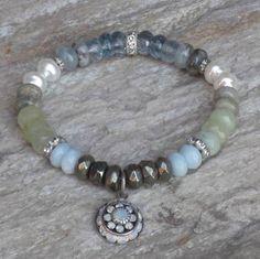 Boho Chic Waterfall Semi Precious Bead Mix w/ Crystal Charm Stretch Bracelet