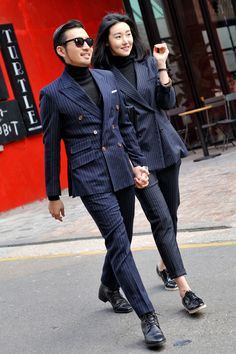 stylish couples: navy suits, love the double breasted blazer #couplesstyle #pinstripesuits