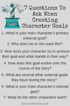 7 Questions to Ask When Creating Character Goals. [Character development is so haaarrrrdddd! Creative Writing Tips, Book Writing Tips, Writing Help, Writing Prompts, Script Writing, Start Writing, Writing Ideas, Character Questions, Character Prompts