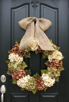 XL Fall Wreaths, Hydrangea Wreaths for Fall, Burlap Ribbon Bows, Fall Wreaths, Autumn Decor, Wreaths, Front Door Wreaths for Fall