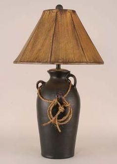 Distressed Black Lasso Lamp Western  Lamps