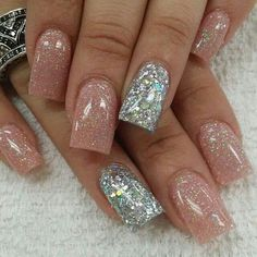Natural and silver acrylic nails