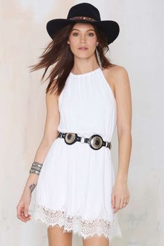 Lace Trim Dress in White