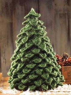KNITTING PATTERN Crocodile Knit Christmas Tree - #ad Yep, this is a knit crocodile stitch holiday decoration. Finished size is 24 in circumference x 15H. Includes video tutorials.