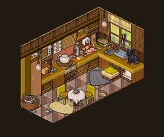 Habbo Hotel, Sims, Pixel Art Background, Minecraft City, Fantasy House, Cute House, Cozy Cabin, Kitchen Art, Kitsch