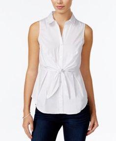 Bcx Juniors' Tie-Front Blouse - White XS