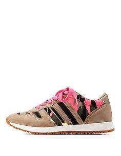 Camo Print Color Block Sneakers: Charlotte Russe #sneakers
