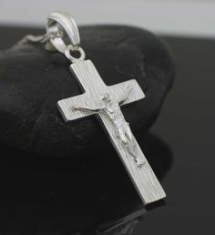19 best catholic mens crosses images on pinterest mens crosses solid cross necklace heavy cross necklace mens by theangelfaith aloadofball Images