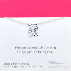 Strong and Sassy Silver Necklace - Yes She Can Feather Cards, Holiday Boutique, Silver Dip, Words Of Encouragement, Sassy, Silver Jewelry, Strong, Messages, Canning