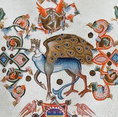 peacock wings Anjou Bible, Naples ca. Medieval World, Medieval Art, Renaissance Art, Dora Carrington, Walter Crane, Vladimir Kush, Kay Nielsen, Medieval Manuscript, Illuminated Manuscript