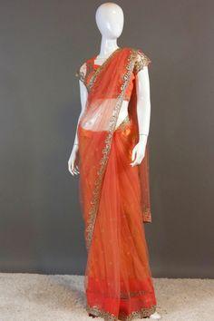 Peach Crystal work saree
