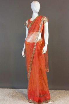 Peach Crystal work saree