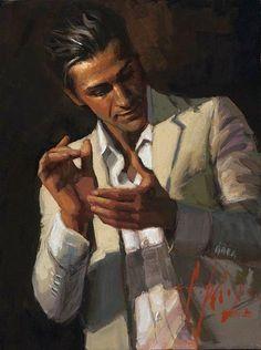 Fabián Pérez. Pintor Argentino Buenos Aires 1967 Palmas flamencas Fabián Pérez es un artista único, cada pintura refleja su impulso y energía. Sus obras: una guía con muchas direcciones, donde los espectadores deciden que trayectoria desean experimentar.  Web oficial del artista: http://www.fabianperez.com/