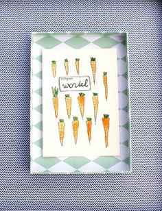 Handmade postcard 'Carrot' with seeds door XantheCS op Etsy
